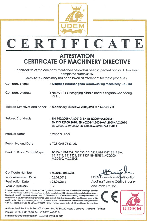 Woodworking Machinery Certificate Qingdao Haozhonghao